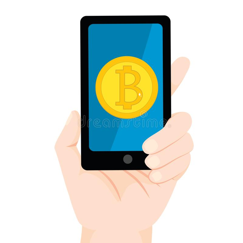 Bitcoin Smartphone royaltyfri illustrationer