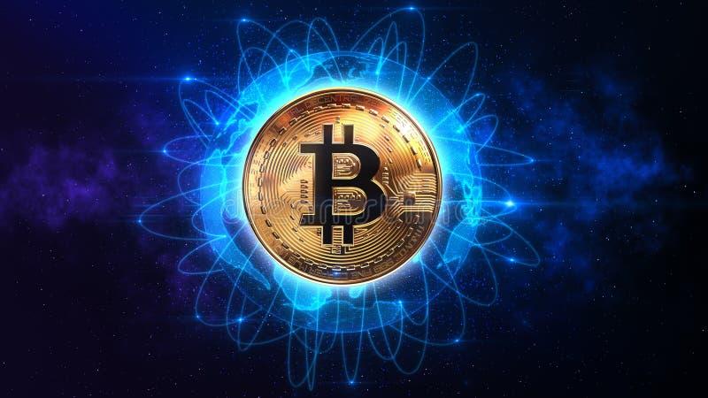 Bitcoin sobre el mundo stock de ilustración