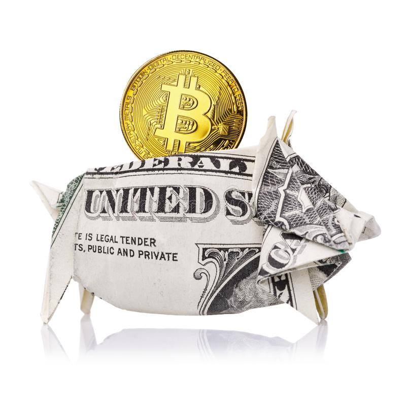 Bitcoin solidement stocké en le dollar US a isolé image stock