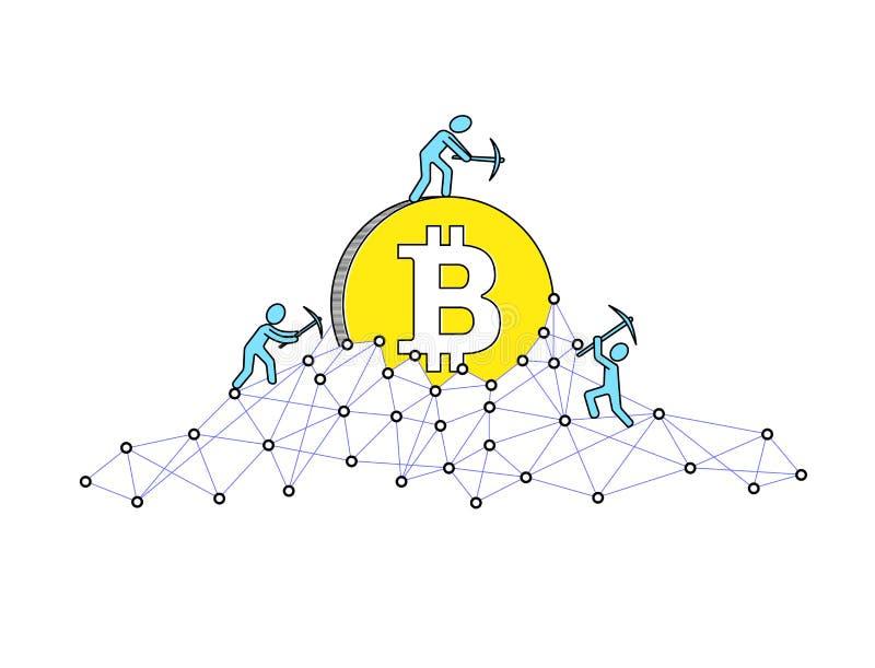 Bitcoin som bryter begrepp och tjänar cryptocurrency också vektor för coreldrawillustration Blockchain teknologi vektor illustrationer