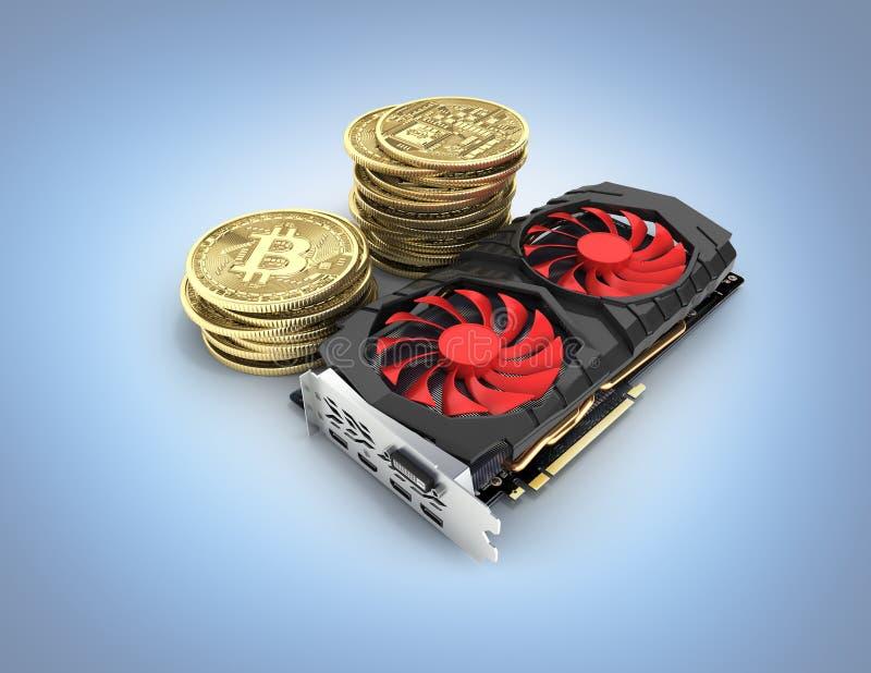 Bitcoin som bryter kraftiga videokort för att bryta och tjäna cryptocurrenciesbegrepp på blå lutningbakgrund 3D för att framföra vektor illustrationer