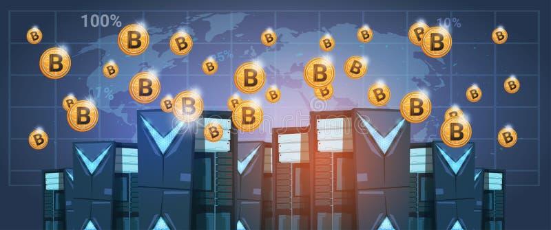 Bitcoin som bryter lantgårddatorhallen över pengar för rengöringsduk världskartaDigital för Crypto valuta moderna stock illustrationer