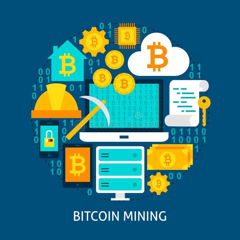 Bitcoin som bryter plant begrepp royaltyfri illustrationer