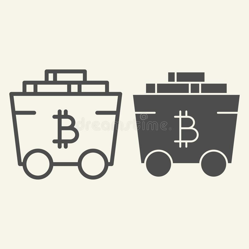 Bitcoin som bryter vagnslinjen och skårasymbolen Crypto vagnsvektorillustration som isoleras på vit Bitcoin trans. stock illustrationer