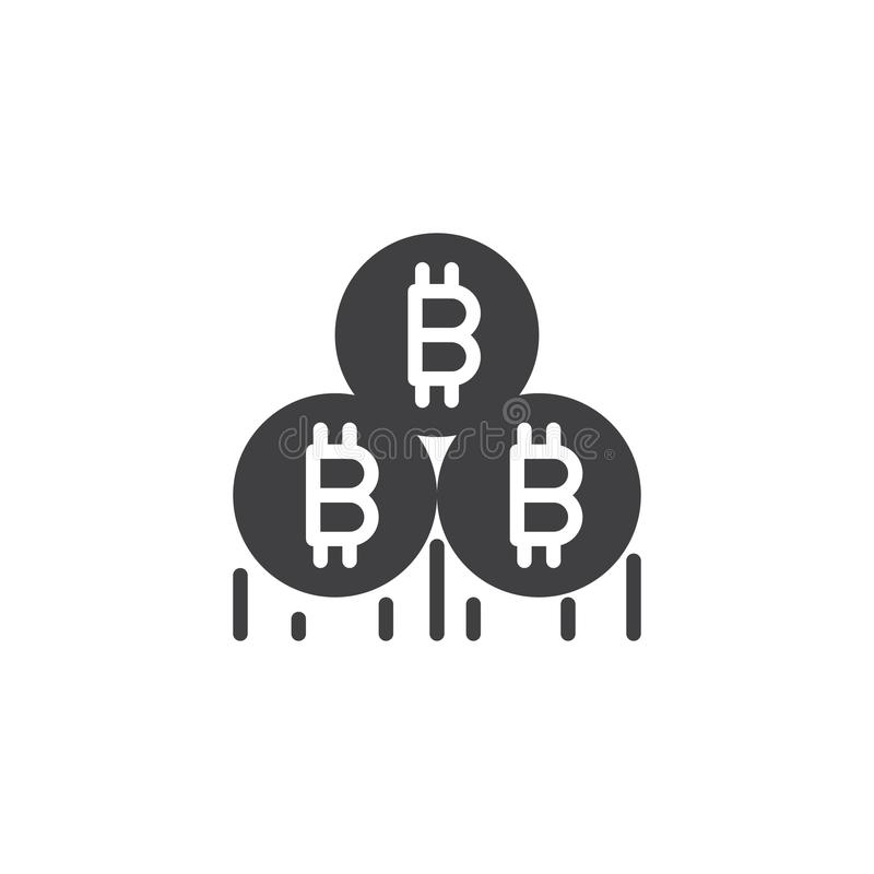 Bitcoin som bryter vektorsymbolen stock illustrationer