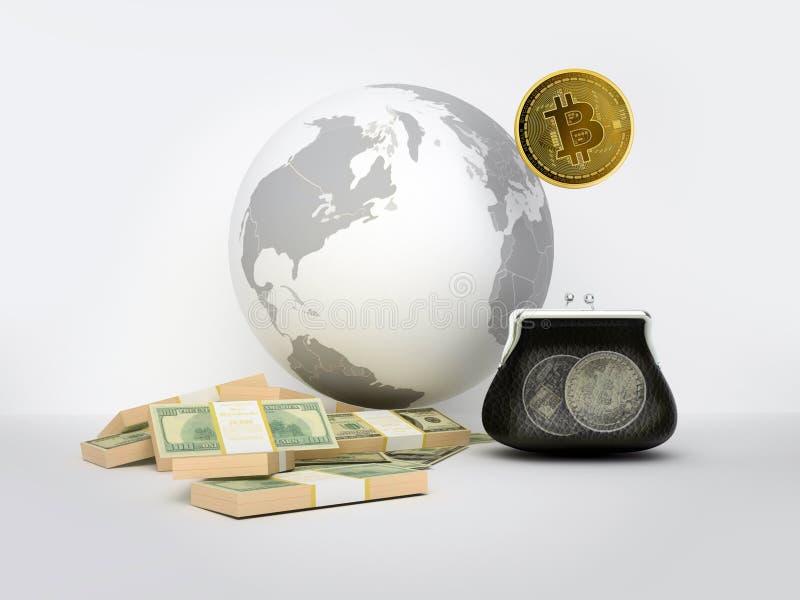 Bitcoin som en symbolvärldsvaluta globaliseringen globaliserar worl royaltyfri illustrationer