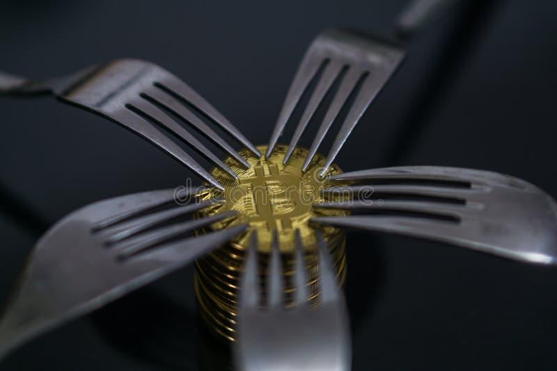 Bitcoin som får ny hård gaffeländring, fysiskt guld- Crytocurrency mynt under gafflar arkivbild
