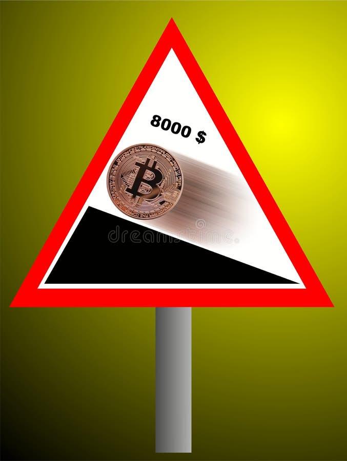 Bitcoin som går stigande royaltyfri illustrationer