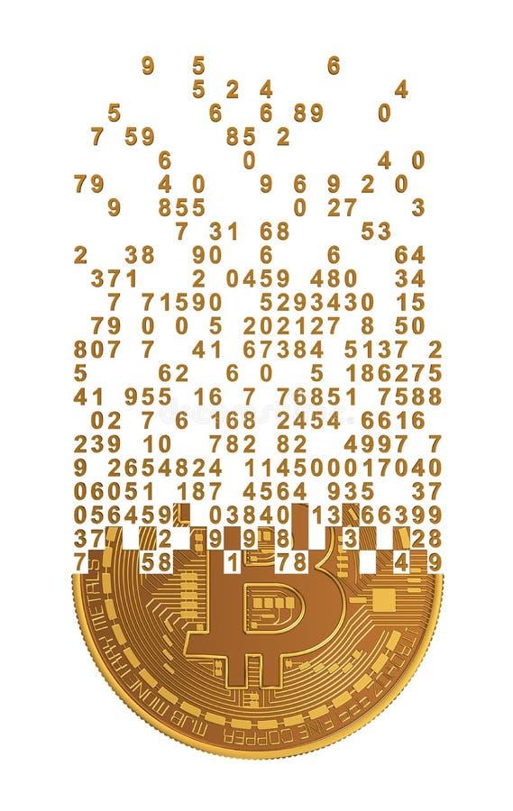 Bitcoin som ifrån varandra faller till siffror stock illustrationer