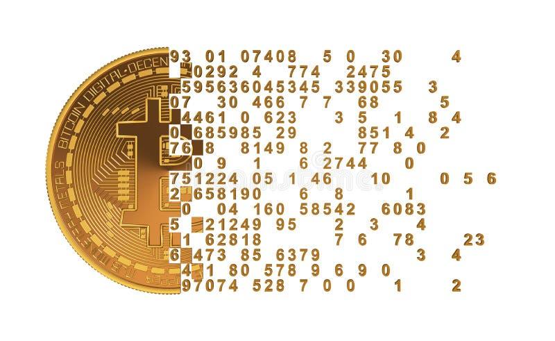 Bitcoin som ifrån varandra faller till siffror royaltyfri illustrationer