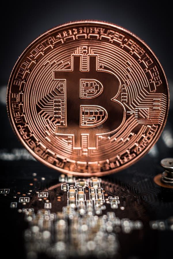 Bitcoin som lägger på datorbräde royaltyfri bild