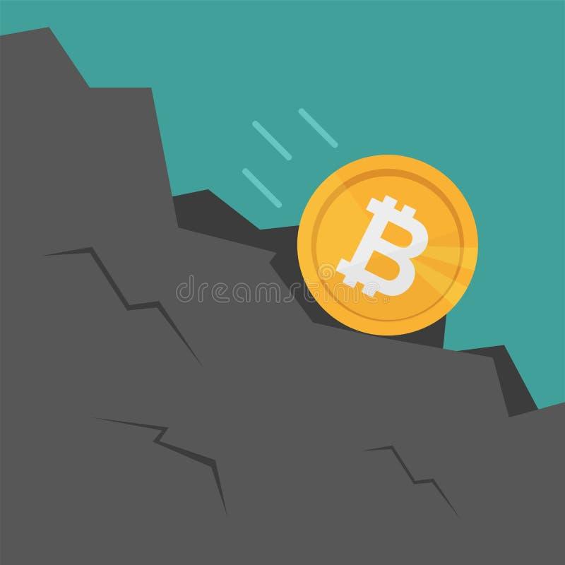 Bitcoin Spada puszek skała Kreskówki stylowa wektorowa ilustracja royalty ilustracja