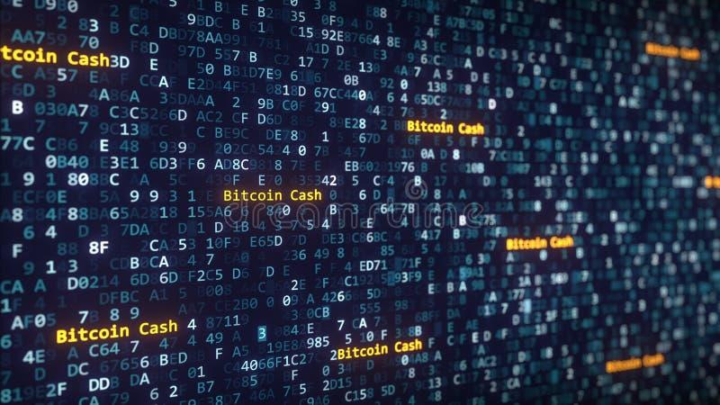 Bitcoin Spienięża podpisy pojawiać się wśród zmieniać heksadecymalnych symbole na ekranie komputerowym świadczenia 3 d royalty ilustracja