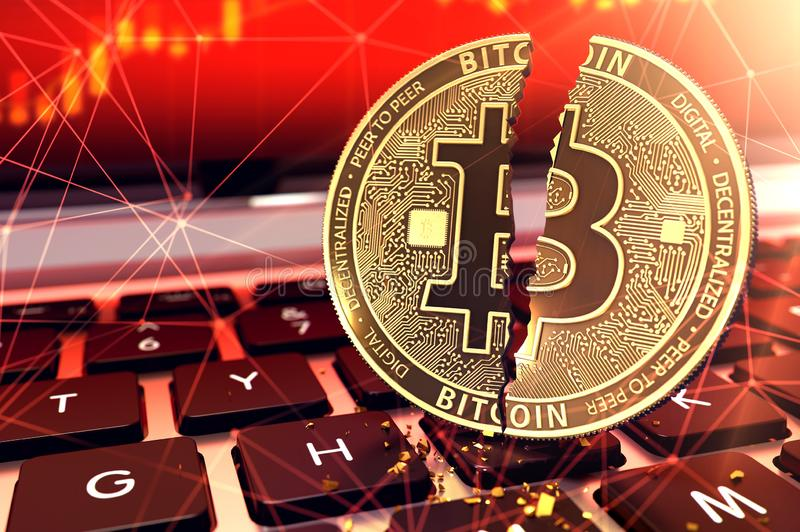 Bitcoin split in two pieces on keyboard. Frauds and ransoms committed with cryptocurrencies concept. 3D rendering. Bitcoin split in two pieces on keyboard stock illustration