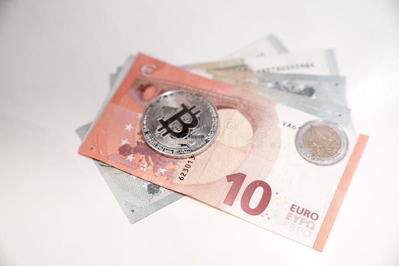 Bitcoin srebne monety fotografia stock
