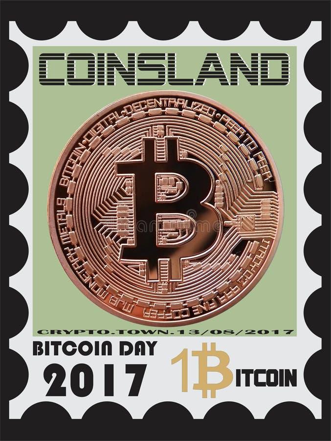Bitcoin stämpel stock illustrationer