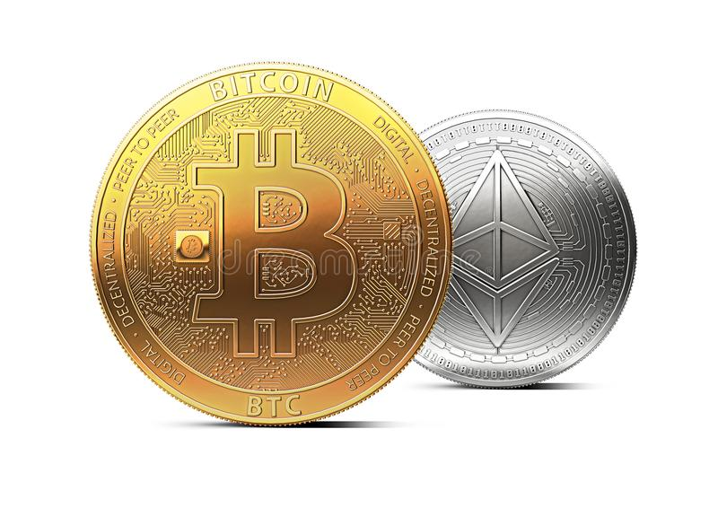 Bitcoin stands in front of ethereum isolated on white background. Domination concept. New virtual money, 3D rendering stock illustration