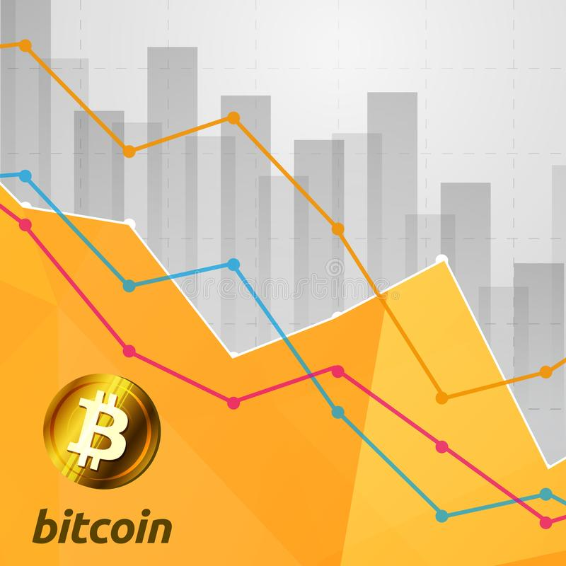 Bitcoin statistics chart showing various visualization graphs go. Ing down. Cryptocurrency crisis concept royalty free illustration