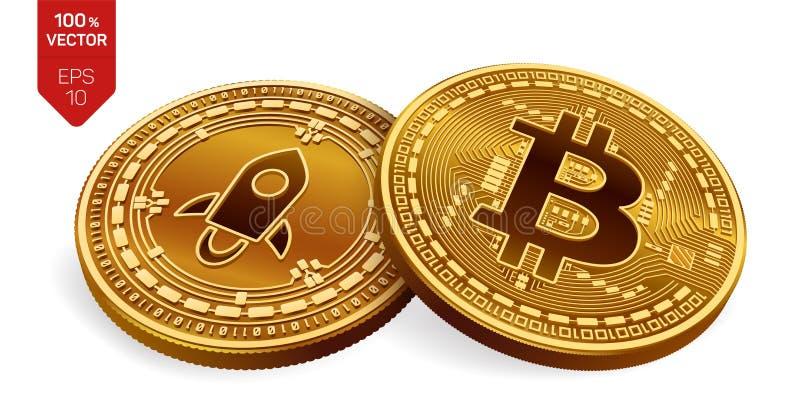 Bitcoin stellaire pièces de monnaie 3D physiques isométriques Devise de Digital Cryptocurrency Pièce en argent avec le symbole st illustration stock