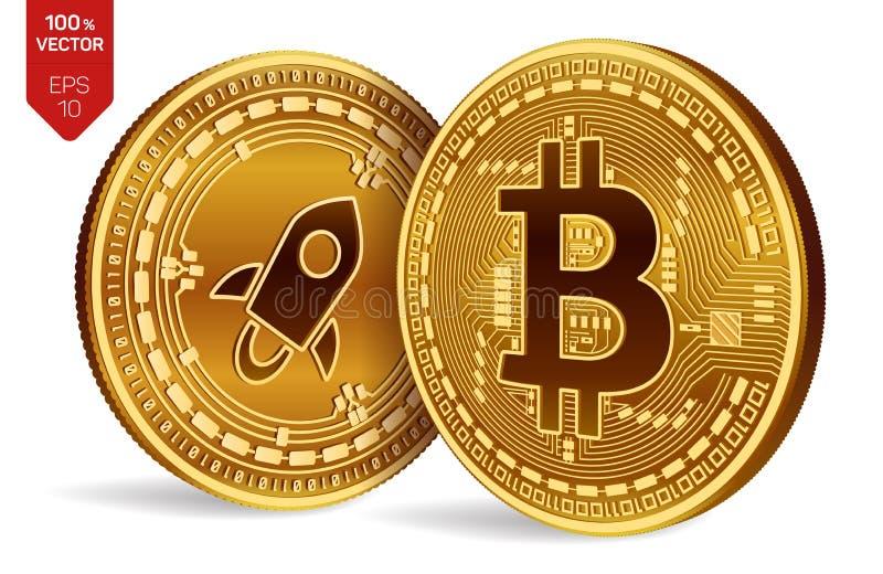Bitcoin stellaire pièces de monnaie 3D physiques isométriques Devise de Digital Cryptocurrency Pièce en argent avec le symbole st illustration libre de droits