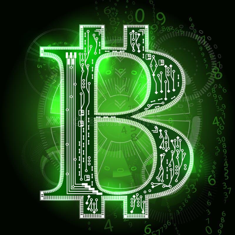 Bitcoin stigningen Abstrakta HUD beståndsdelar royaltyfri illustrationer
