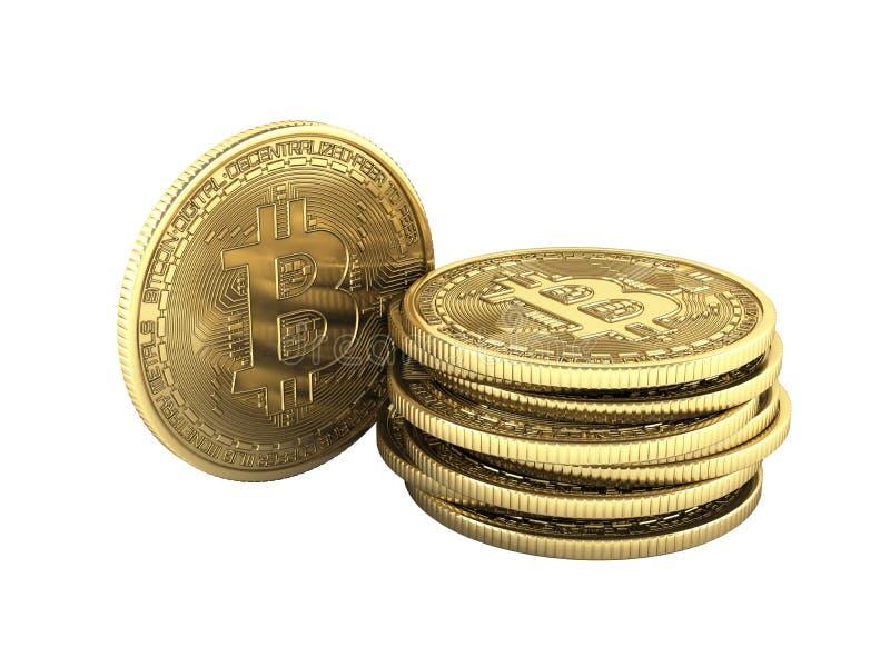 Bitcoin stos monet 3D badania lekarskiego kawałka isometric moneta w złocistej Cyfrowej waluty Cryptocurrency Złotych monetach z  ilustracja wektor