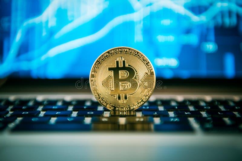 Bitcoin su un taccuino, grafico finacial nei precedenti fotografia stock
