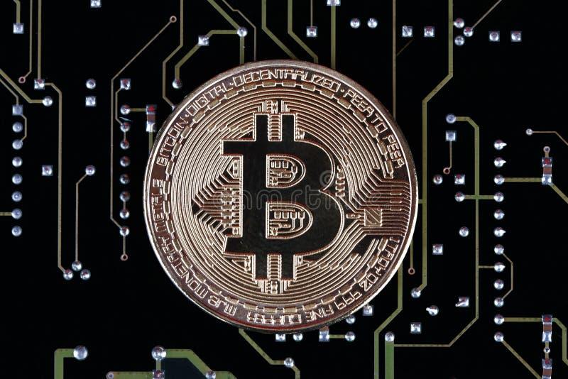 Bitcoin sur la carte image stock