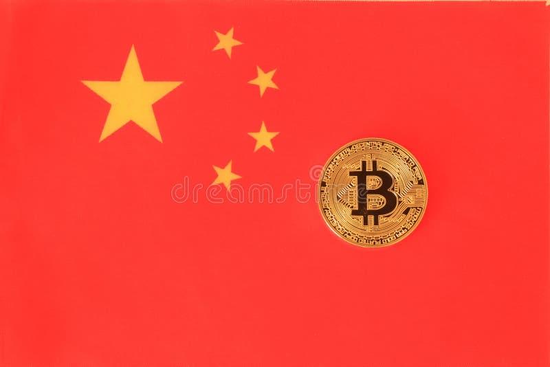 Bitcoin sur le drapeau de la Chine photos libres de droits