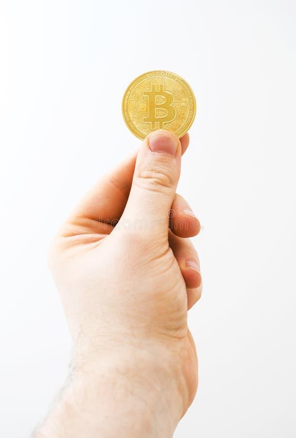 Bitcoin sur le fond blanc images libres de droits