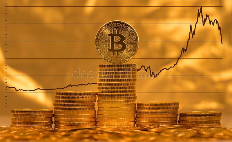 Bitcoin sur le fond du graphique des prix images stock