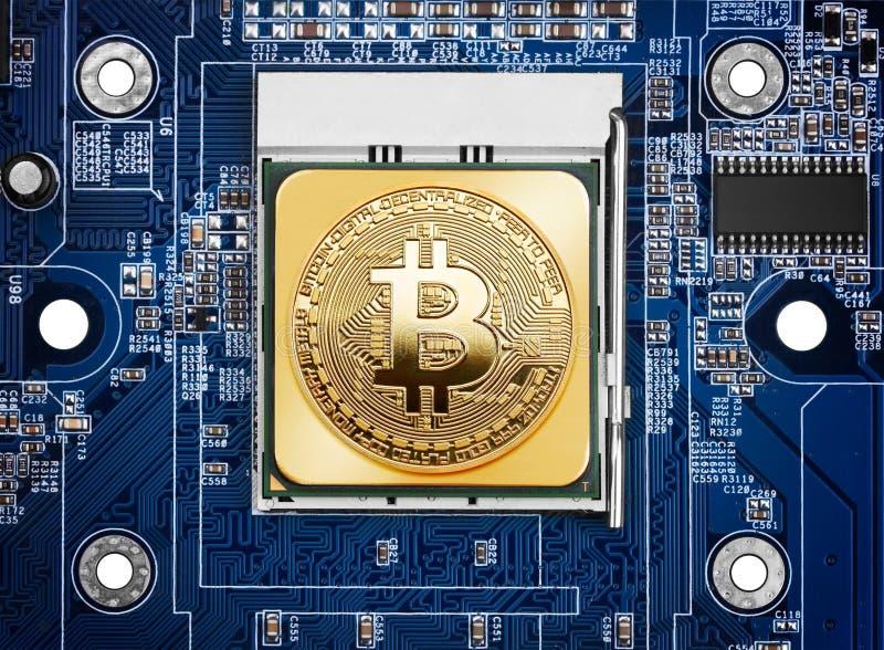 Bitcoin sur un processeur images stock