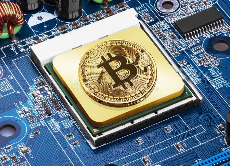 Bitcoin sur un processeur image stock