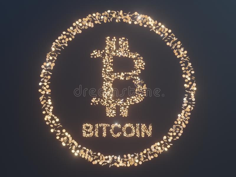 Bitcoin surrounded by Golden coins cryptocurrency, monero 3D illustration rendering, isolated on white backgroun. Bitcoin surrounded by Golden coins royalty free illustration