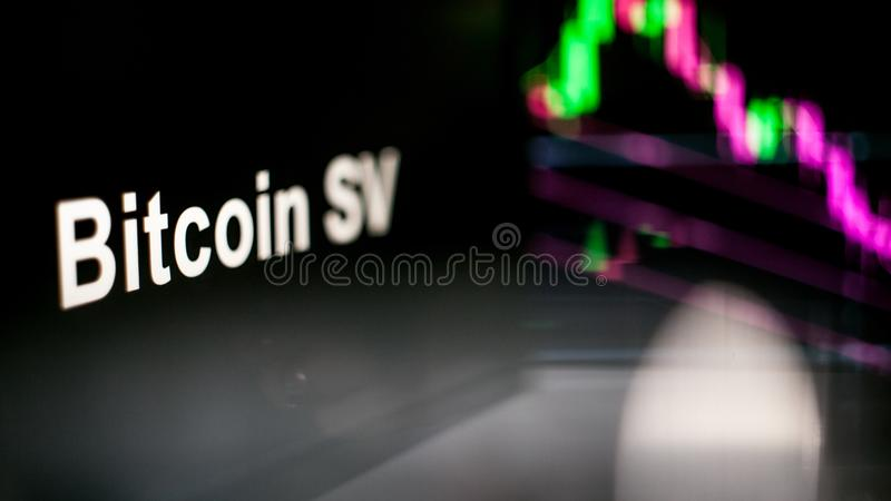 Bitcoin SV Cryptocurrency token. The behavior of the cryptocurrency exchanges, concept. Modern financial technologies. stock image
