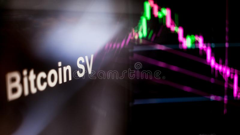 Bitcoin SV Cryptocurrency token. The behavior of the cryptocurrency exchanges, concept. Modern financial technologies. royalty free stock photos
