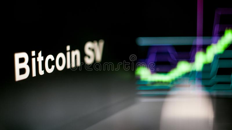 Bitcoin SV Cryptocurrency token. The behavior of the cryptocurrency exchanges, concept. Modern financial technologies. stock photography