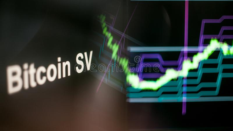 Bitcoin SV Cryptocurrency token. The behavior of the cryptocurrency exchanges, concept. Modern financial technologies. royalty free stock image