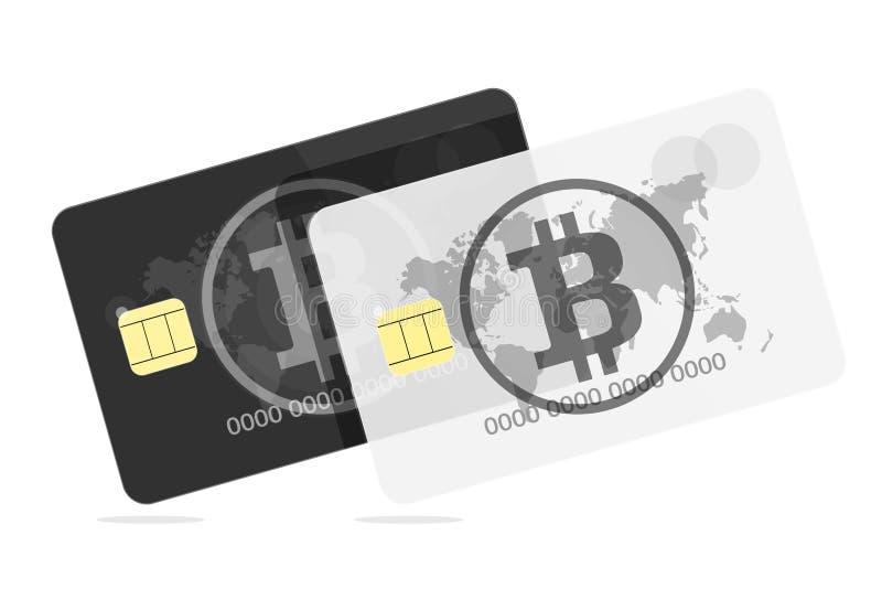 Bitcoin Svartvit kontokort stock illustrationer