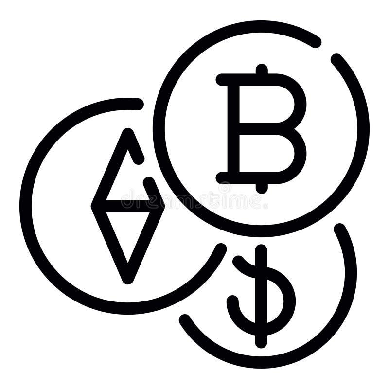 Bitcoin symbol, översiktsstil royaltyfri illustrationer