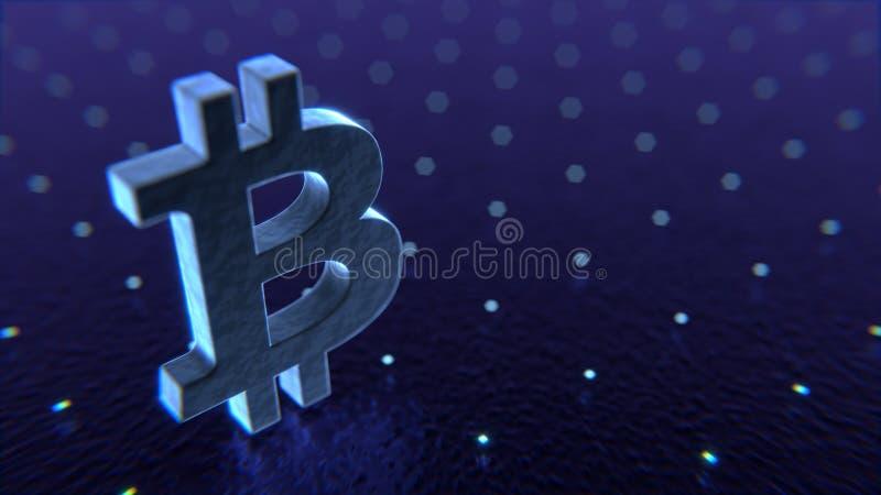 Bitcoin symbol in abstract virtual digital space. 3D illustratio stock image