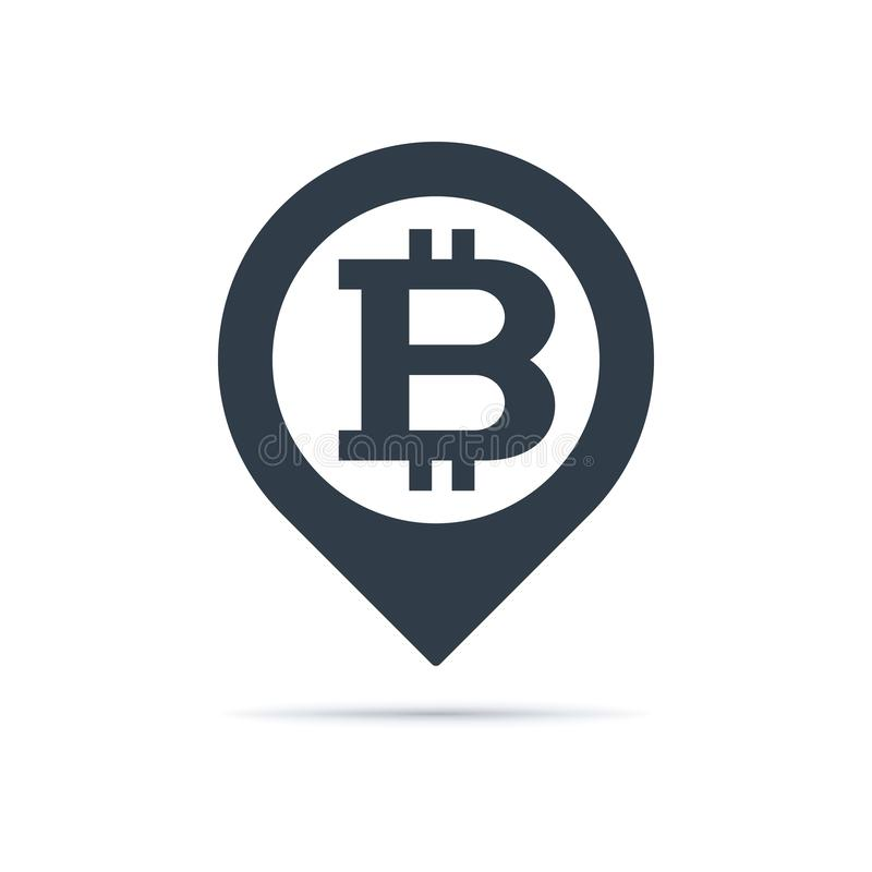 Bitcoin symbol, address pin icon. Address pin icon with bitcoin symbol on white background. Currency icon design royalty free illustration