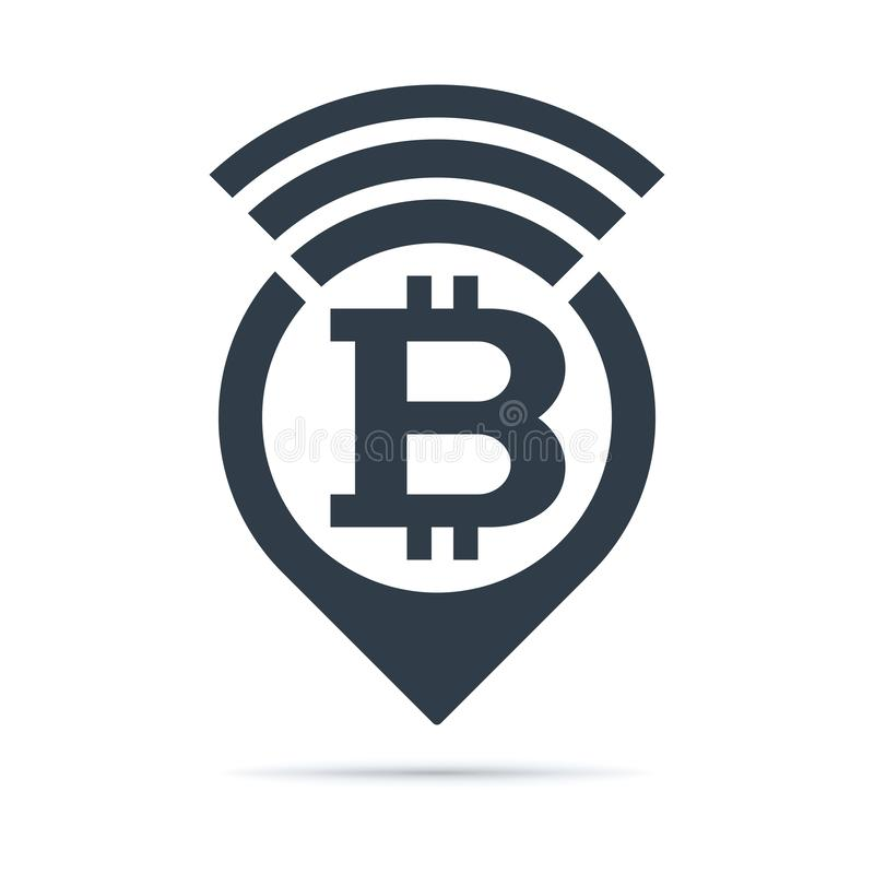 Bitcoin symbol, address pin icon with radio wave. Bitcoin symbol - address pin icon with radio wave on white background. Currency icon design stock illustration