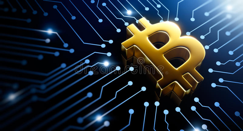 Bitcoin symbol. On circuit converging point vector illustration