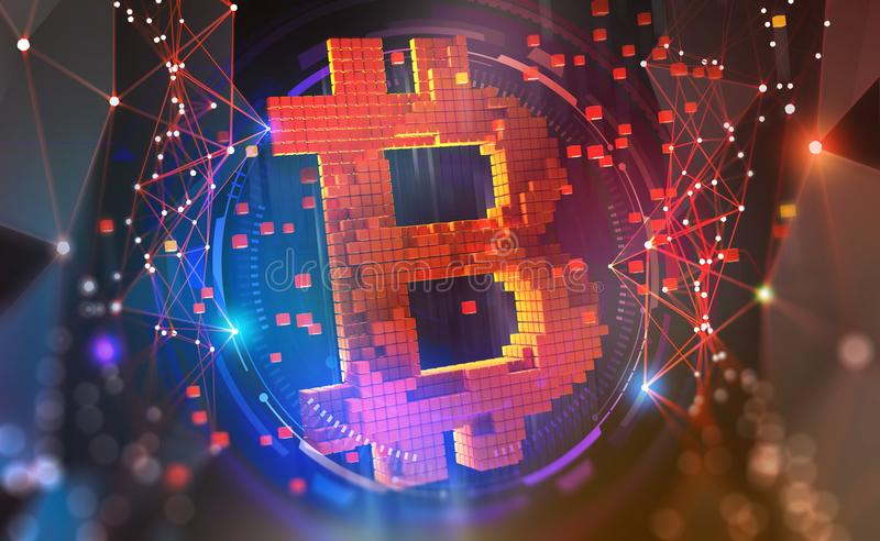 Bitcoin symbol. Concept of cryptocurrency mining. 3D illustration on a technological background vector illustration
