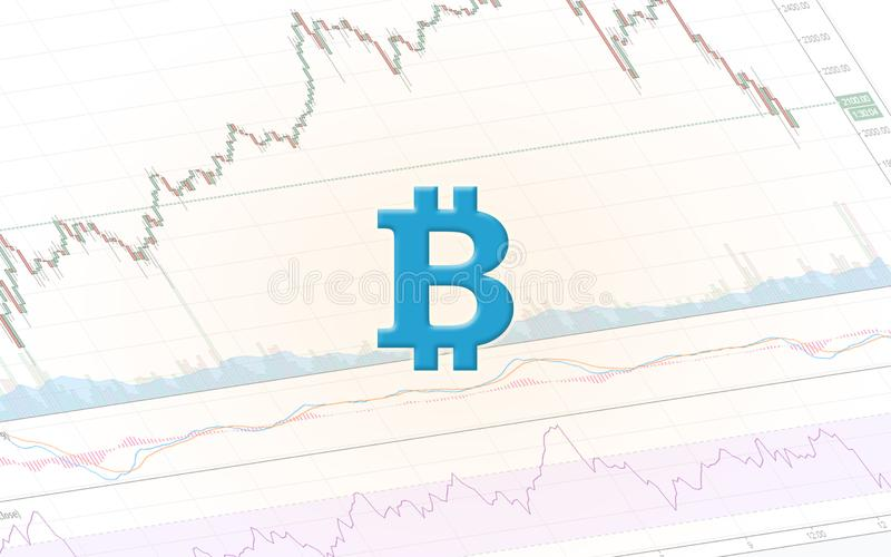 Bitcoin symbol and cryptocurrency chart royalty free stock image