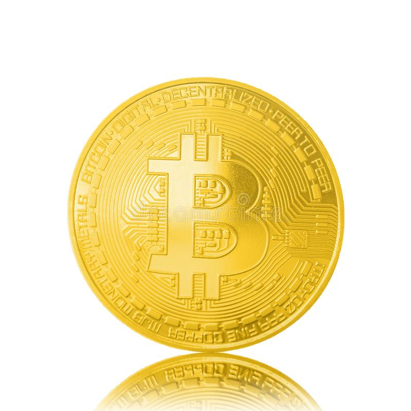 Golden bitcoin isolated on white background stock photography