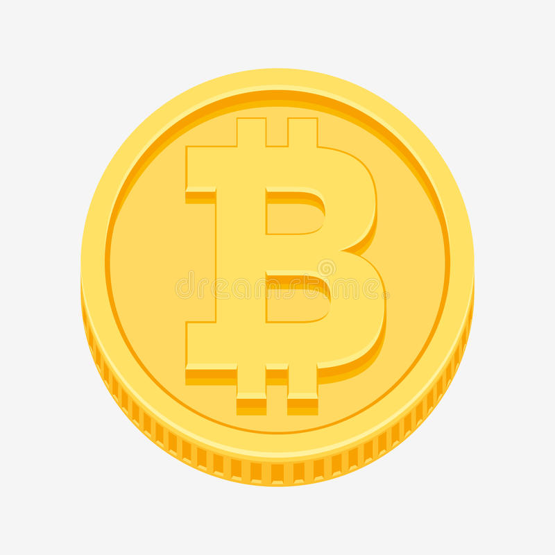 Bitcoin symbol on gold coin vector illustration