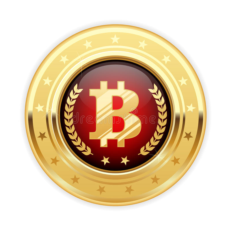Bitcoin symbol on gold medal - cryptocurrency icon royalty free illustration