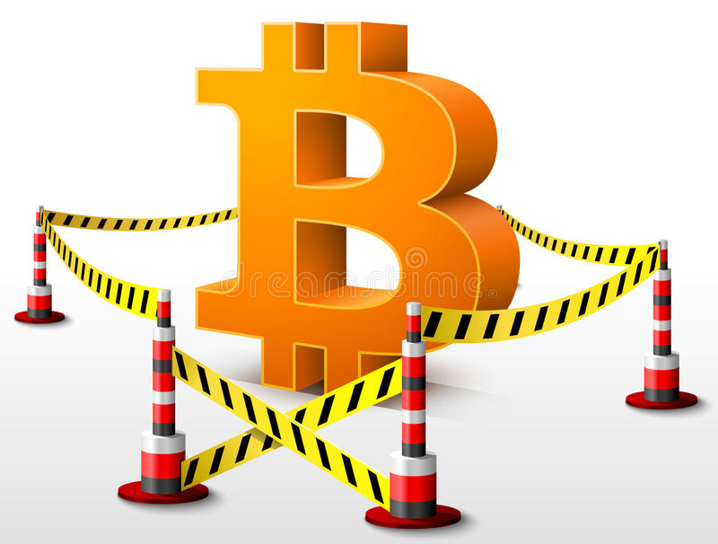 Bitcoin symbol located in restricted area. Dangerous money sign surrounded barrier tape. Qualitative vector (EPS-10) illustration for banking, financial industry stock illustration